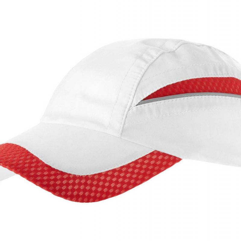 """Бейсболка """"Qualifier"""" 6-ти панельная, белый/красный"""