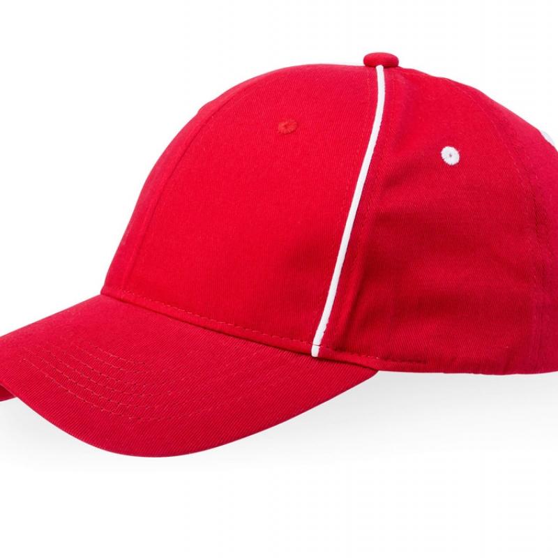 """Бейсболка """"Break"""" 6-ти панельная, красный/белый"""