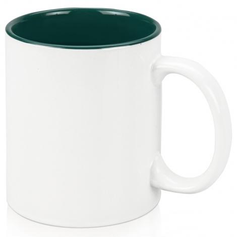 Кружка цветная внутри 320мл, белый/зеленый