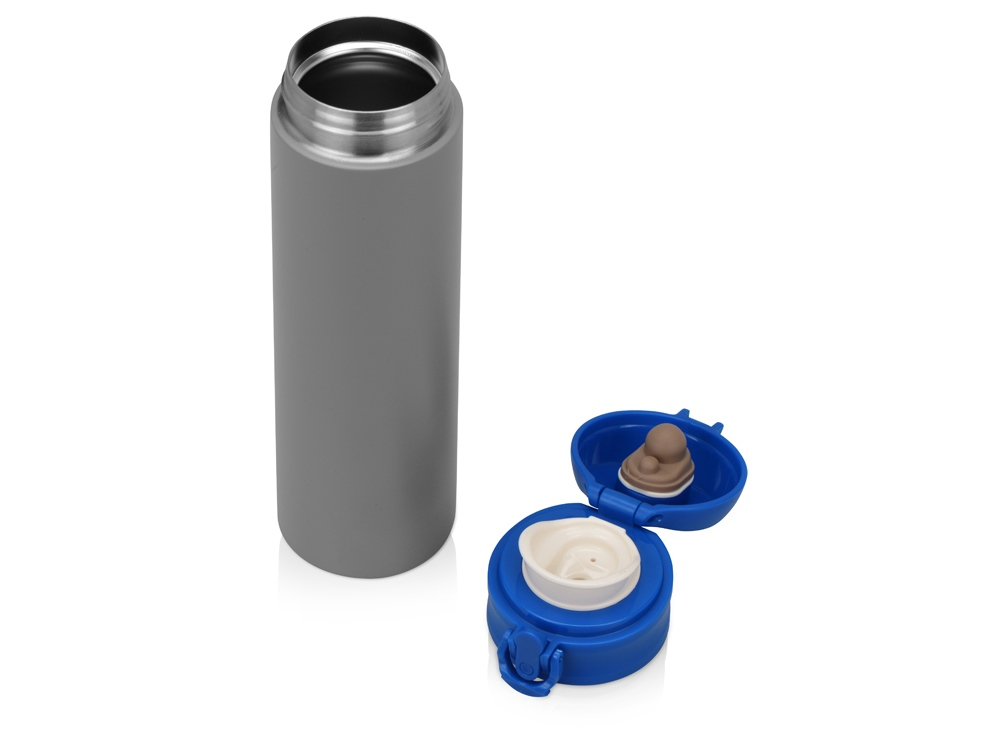 Вакуумная термокружка «Хот» 470мл, серый/синий