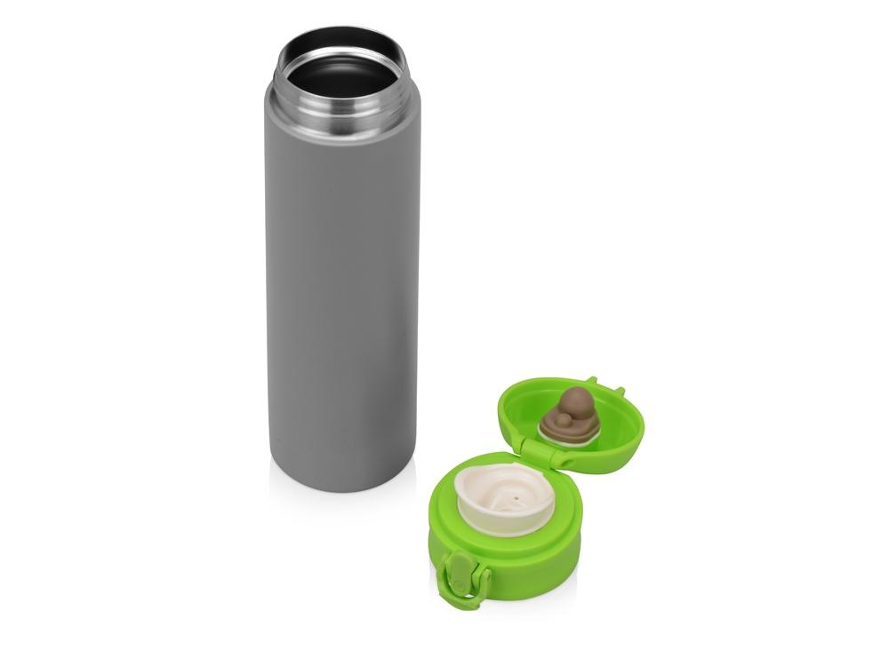 Вакуумная термокружка «Хот» 470мл, серый/зеленое яблоко