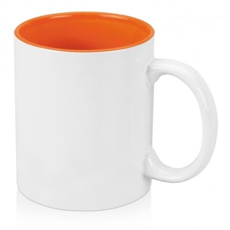 Кружка цветная внутри 320мл, белый/оранжевый
