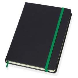 Блокнот в линейку формата А5, черный/зеленый