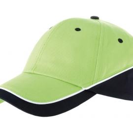 """Бейсболка """"Draw"""" 6-ти панельная, зеленое яблоко/темно-синий/белый"""