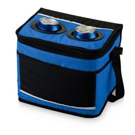 Сумка-холодильник на 12 банок с передним карманом, ярко-синий/черный