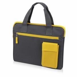 "Конференц сумка ""Session"", серый/желтый"