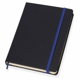 Блокнот в линейку формата А5, черный/синий