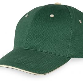 """Бейсболка """"New Castle"""" 6-ти панельная, зеленый/натуральный"""