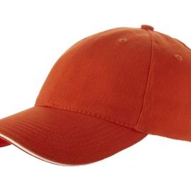 """Бейсболка """"Challenge"""" 6-ти панельная, оранжевый/натуральный"""