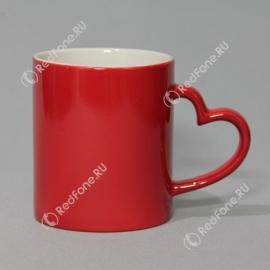 Кружка Хамелеон, красная, ручка в виде сердца