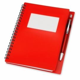 """Блокнот """"Контакт"""" с ручкой, красный"""