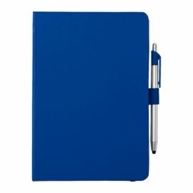 """Блокнот A5 """"Crown"""" с шариковой ручкой-стилусом, синий/серебристый"""