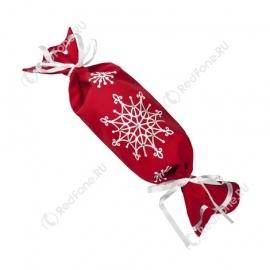"""Новогодняя упаковка из текстиля """"Конфета"""", красная"""