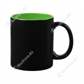 Кружка Хамелеон матовая черная, внутри зелёная