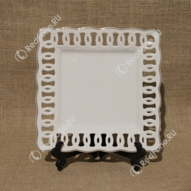 Печать фото на квадратной тарелке с ажурным краем