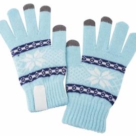 Перчатки сенсорные с нанесением надписи, голубые