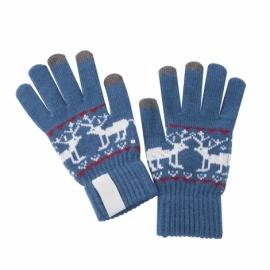 Перчатки зимние сенсорные с нанесением надписи, синие