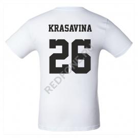Футболка с фамилией и номером, белая