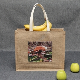 Джутовая сумка 41*35*12 см с фото-карманом