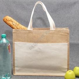 Джутовая сумка 41*35*12 см с хлопковым карманом