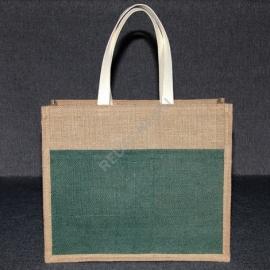 Джутовая сумка 41*35*12 см с джутовым карманом В1