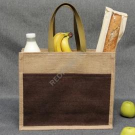 Джутовая сумка 41*35*12 см с джутовым карманом В2