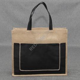 Джутовая сумка 41*35*12 см с черным карманом