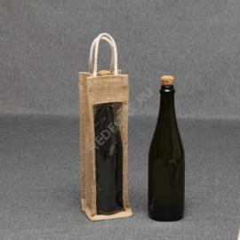 Джутовая сумка для вина 10*33*10 см с окном