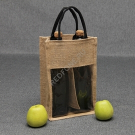 Джутовая сумка с окном для 2-ух бутылок вина 21*31*10 см