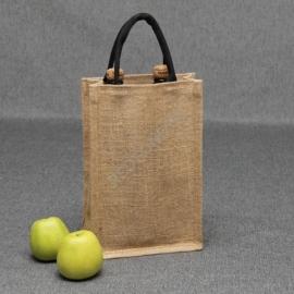 Джутовая сумка для 2-ух бутылок вина 21*31*10 см