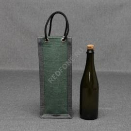 Джутовая сумка для вина 14*35*11 см с люверсами