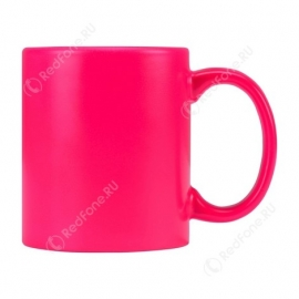 Розовая кружка с принтом, 320 мл