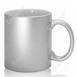 Кружка керамическая серебряная с принтом