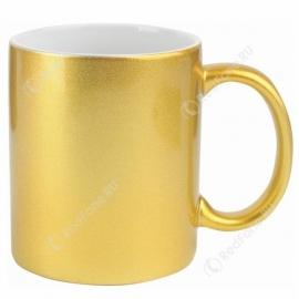 Кружка керамическая золотая с принтом