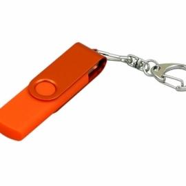 Флешка с поворотным механизмом, c дополнительным разъемом Micro USB, 32 Гб, оранжевый