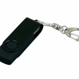 Флешка промо поворотный механизм, с однотонным металлическим клипом, 32 Гб, черный