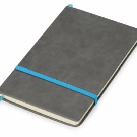 Блокнот «Color» линованный А5 в твердой обложке с резинкой, серый/синий