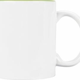 Кружка цветная внутри 320мл, белый/зеленое яблоко