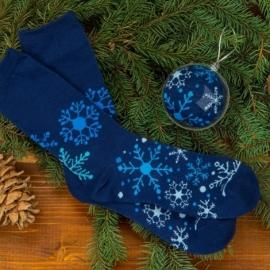"""Носки в шаре """"Снежинка"""" женские, синий"""