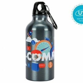 """Бутылка """"Oregon"""" с карабином 400мл с UV нанесением, мокрый асфальт"""