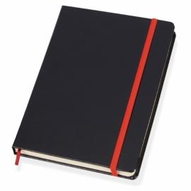 Блокнот в линейку формата А5, черный/красный