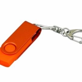 Флешка промо поворотный механизм, с однотонным металлическим клипом, 64 Гб, оранжевый