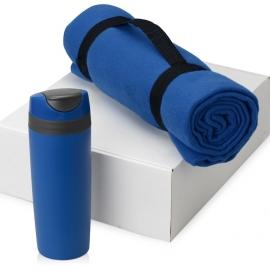 Подарочный набор Cozy с пледом и термокружкой, синий
