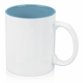 Кружка цветная внутри 320мл, белый/голубой