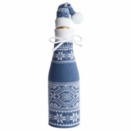 Вязаный чехол для шампанского с колпачком, индиго