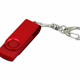 Флешка промо поворотный механизм, с однотонным металлическим клипом, 16 Гб, красный