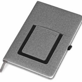 """Блокнот """"Pocket"""" 140*205 мм с карманом для телефона, серый"""