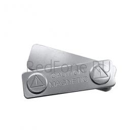 Бейдж металлический на магните 90х50 мм, с местом под наклейку v.1