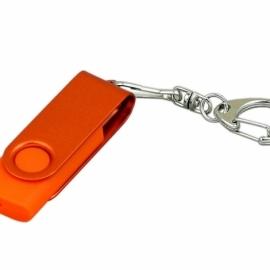 Флешка промо поворотный механизм, с однотонным металлическим клипом, 32 Гб, оранжевый