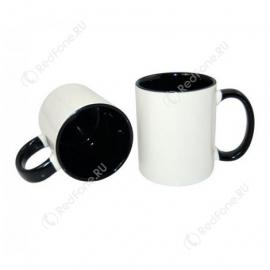 Принт на кружке черная внутри и ручка